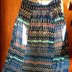 Blue/maroon/teal patterned maxi skirt